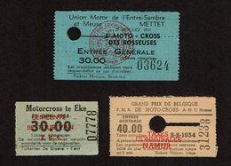 1954 - MOTO-CROSS - MOTORCROSS - Mettet Moto-Cross Des Bosseuses - Namur Grand Prix De Belgique - Eke - Tickets D'entrée
