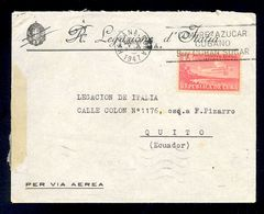 CUBA - Envelope For Air Mail Sent From Havana To Quito/Ecuador 1947. Nice Header On Envelope And Stamp With Airplane. Ar - Poste Aérienne
