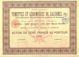 Société Générale Des Tomettes Et Céramiques De Salernes (Var) - Actions & Titres