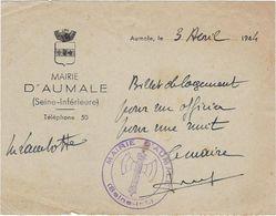 Document  76 Aumale   Militaire Billet De Logement  Pour Un Officier 1944 - 1939-45