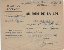 Document  76 Aumale   Militaire Billet De Logement  Pour Un  Sous Officier 1943 - 1939-45