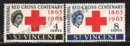 St Vincent 1963 Yvert 186-87, Organizations. International Red Cross Centenary. Royalty. Queen Elizabeth - MNH - St.Vincent (1979-...)