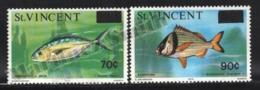 St Vincent 1976 Yvert 442-43, Definitive Set, Fauna. Fishes - Overprinted - MNH - St.Vincent (1979-...)