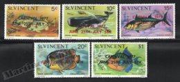 St Vincent 1977 Yvert 486-90, Fauna. Fishes. Kingstown Carnival - Overprinted - MNH - St.Vincent (1979-...)