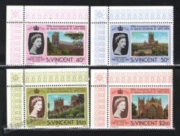St Vincent 1978 Yvert 511-14, Royalty. 25th Anniv Coronation Queen Elizabeth. Architecture. Cathedrals - Border - MNH - St.Vincent (1979-...)
