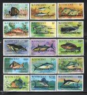 St Vincent 1979 Yvert 561-75, Definitive Set, Fauna. Fishes - Overprinted - MNH - St.Vincent (1979-...)