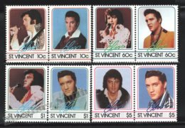 St Vincent 1985 Yvert 870-77, Music. Famous People. Rock & Roll Singer, Elvis Presley - MNH - St.Vincent (1979-...)