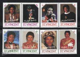 St Vincent 1985 Yvert 890-97, Music. Famous People. Pop Singer, Michael Jackson - MNH - St.Vincent (1979-...)