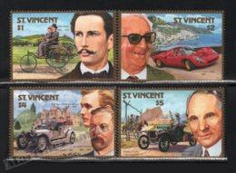 St Vincent 1987 Yvert 1024-27, Cars. Automobile Centenary. Benz, Ferrari, Rolls Royce & Ford - MNH - St.Vincent (1979-...)