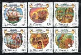 St Vincent 1987 Yvert 1036-41, History. Ships. Christopher Columbus, 200th Anniv USA Constitution - MNH - St.Vincent (1979-...)