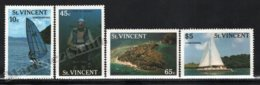 St Vincent 1988 Yvert 1050-53, Tourism. Water Sports. Windsurfing, Diving & Chartering - MNH - St.Vincent (1979-...)