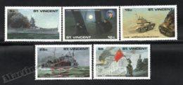 St Vincent 1990 Yvert 1175-79, War. Military. 50th Anniv Second World War, WW2 - MNH - St.Vincent (1979-...)