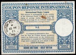 BRITISH POSTMOROCCO MAROC Lo16u 9d. InternationalReply Coupon Reponse AntwortscheinIAS IRC O TANGIER 22.02.55 Pdv! - Maroc (1956-...)