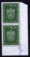 A6716) Bund Deutsches Museum Mi.163 ** Im Rechten Unteren Eckrandpaar Mit Plattennummer 1 - Unused Stamps