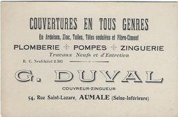 Carte De Visite  76 Aumale G Duval   Couvertures En Tous Genres - Cartes De Visite
