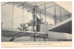 Cpa.Reims.semaine D'aviation De Champagne (du 22 Au 97 Aout 1909)..Bunau-Varilla Avec Un Passager..(biplan Voisin)... - Aviateurs