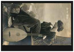 Künstler-AK An Der Weser: Sitzende Frau Mit Laute / Mandoline, DESSAU 10.3.1908 - Illustrators & Photographers