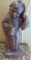 Moine Buveur De Bière.statue En Bois.hauteur.37 Cm. - Bois