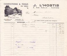 22-J.L'Hostis Confections & Tissus En Gros..Guingamp..(Côtes-d'Armor)..1934 - Vestiario & Tessile
