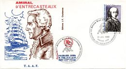 Amiral D'Entrecasteaux - FDC TAAF 1980 - Saint-Paul & Amsterdam - Marine Navy - FDC