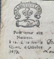 PAPIER TIMBRE - 1673 - GENERALITE TOULOUSE - N°33 - Pour Servir Aux Notaires. à 12. D. La Feuille Quart. D'Octobre 1673. - Cachets Généralité