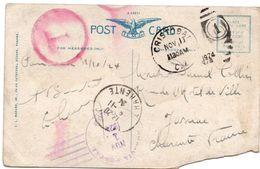 Cristobal Panama 1924 - 2 Timbres Canal Zone Sur Carte Déchirée - Panama