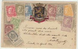 B 1 -   CARTOLINA  POSTALE CON STEMMA BELGA RIPRODUZIONE SERIE STEMMA 1893 - Timbres (représentations)