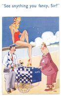 Ice Cream Man In Milkman Uniform Antique Comic Postcard - Humor