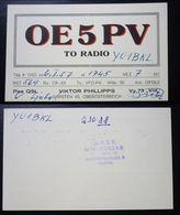 Yugoslavia 1957 Radio Card Austria Klosterneuburg Oe5pv  C35 - Yougoslavie