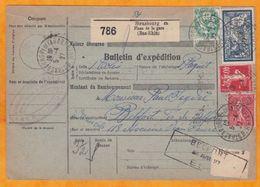 1927 - Bulletin D'expédition De Colis De Strasbourg à Belfort - YT 123 - 5 Francs Merson Bien Centré -  T. Taxe 50 C - 1900-27 Merson