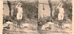 Rare Photo Véritable Photo Format 12 X 5.5 Cm Années 1910-20  Femme Au Collier....format Stéréo - Belleza Feminina (...-1920)