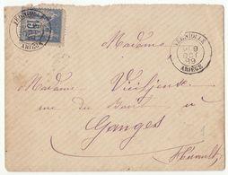 ESC 15c Sage Cad T18 Verniolle Ariège, Dateur Bâton 1889 Bureau Rare Sur Sage - Postmark Collection (Covers)