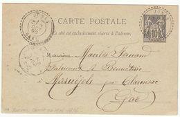 EP 10c Sage O. Facteur Boitier Junas Gard 1896 ( RR, Ouverture En Mai 1896) - 1877-1920: Période Semi Moderne