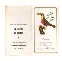 Petit Calendrier 1967 Toucan à Gorge Jaune De Cayenne - La Maison Du Bouton à Clermond-Ferrand - Format : 13x12 Cm - Calendriers