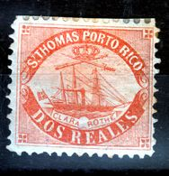 "D.W.I.2 REALES  UNUSED  St.THOMAS >>PORTO RICO ""SHIP CLARA ROTHE"" - West Indies"