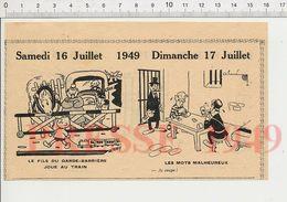 2 Scans 1949 Humour Garde-Barrière Enfant Jouet Train Jeu Joueurs De Cartes Bourreau Guillotine Verre Rhum ? 229ZL - Vieux Papiers
