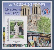 Bloc Neuf FFAP La Passion Du Timbre 93ème Congrès Paris 2020 Jardin Du Luxembourg TVP LV Adhésif Verso N°06375 - FFAP