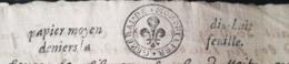 PAPIER TIMBRE 1674 - GENERALITE MONTPELLIER N°69 - Papier Moyen Dix-huit Denier La Feuille (x 2 Cachet) - Cachets Généralité