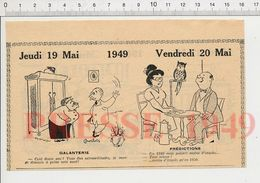 2 Scans 1949 Humour Cartomancienne Tireuse De Cartes Hibou Animal Femme Centenaire Homme Et Femme Au Lit Literie 229ZL - Vieux Papiers