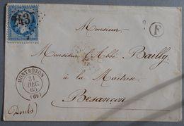 EMPIRE DENTELE 22 SUR LETTRE DE MONTBOZON A BESANCON DU 31 DECEMBRE 1865 (GROS CHIFFRE 2437) - 1849-1876: Classic Period