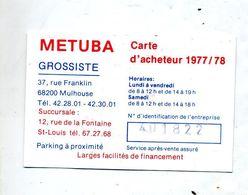 Carte  Acheteur Metuba Mulhouse - Autres Collections