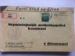 CZECHOSLOVAKIA 1936 Cover Registered Zlin To Olomouci With `RIM. KATOL FARNI URAD VE ZLINE` Cachet - Tchécoslovaquie