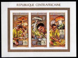 Central African Rep.-1995, Mi.1652-1657, Mushrooms, Sheet, IMPERF., MNH** - Mushrooms