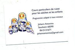 Carte De Visite Cours De Russe Theme Poupee Gigogne - Cartes De Visite
