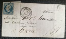 LETTRE 1857 - LIPOSTHEY Pour HERM - Obl. 1737 - Boite Rurale (D) - Marcofilie (Brieven)