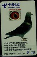 CHINA 2002 PHONECARD DOVE USED VF!! - Oiseaux