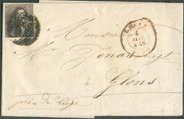 N°1 - Epaulette 10 Centimes Brune, Obl. P.73 Sur Lettre De LIEGE Le 4 Septembre 1850 Vers GLONS (type 18). -- 15821 - 1849 Epaulettes
