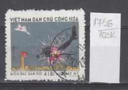 103K1756 / 1973 - Michel Nr. 747 Used ( O ) Abschuss über Hanoi , Victory Over U.S. Air Force, North Vietnam Viet Nam - Vietnam
