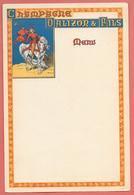 Menu Publicitaire Vierge Chromo-lithographié Début XXe  -   CHAMPAGNE D'ALIZON & FILS -         Estafette, étendard - Menus