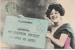 L100G378 - Femme Avec Un Télégramme De Félicitations  - A.Bergeret - Bergeret